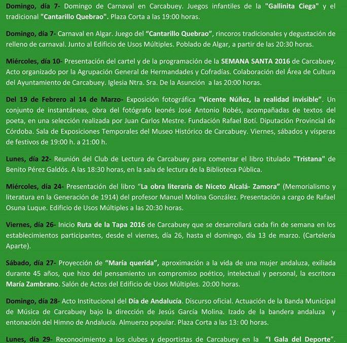 PROGRAMACIÓN CULTURAL DE FEBRERO 1