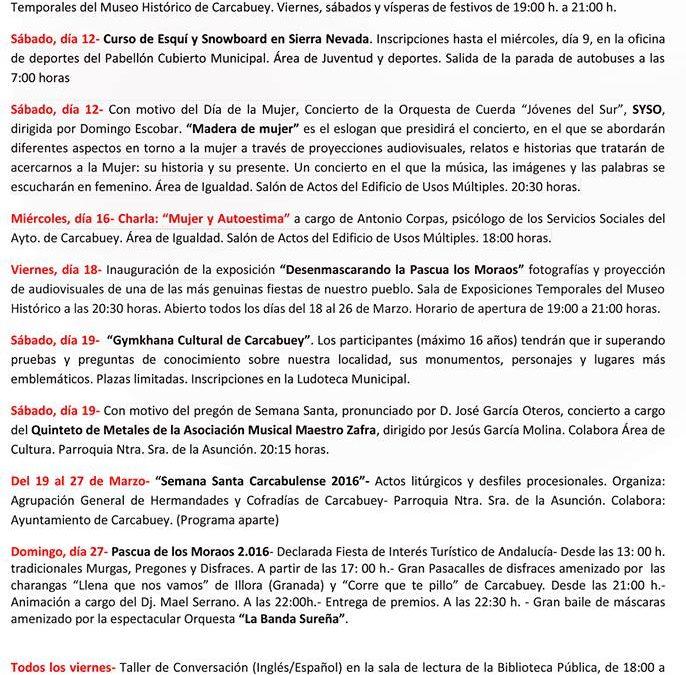 PROGRAMACIÓN MES DE MARZO 1