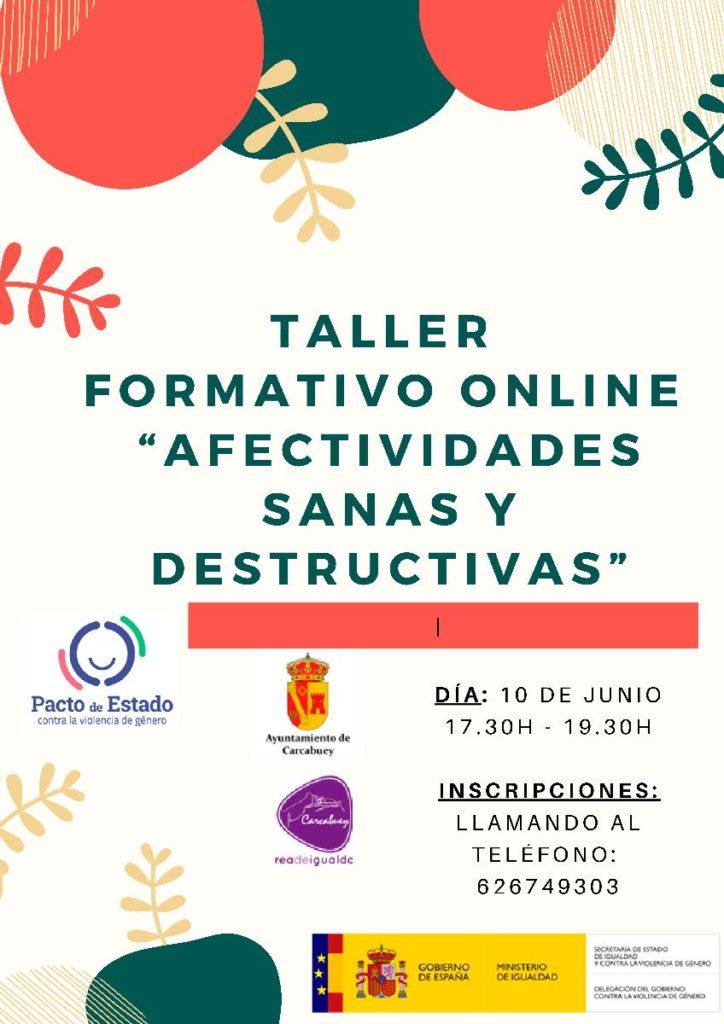 Cartel del taller formativo online del Área de Igualdad del Ayuntamiento de Carcabuey