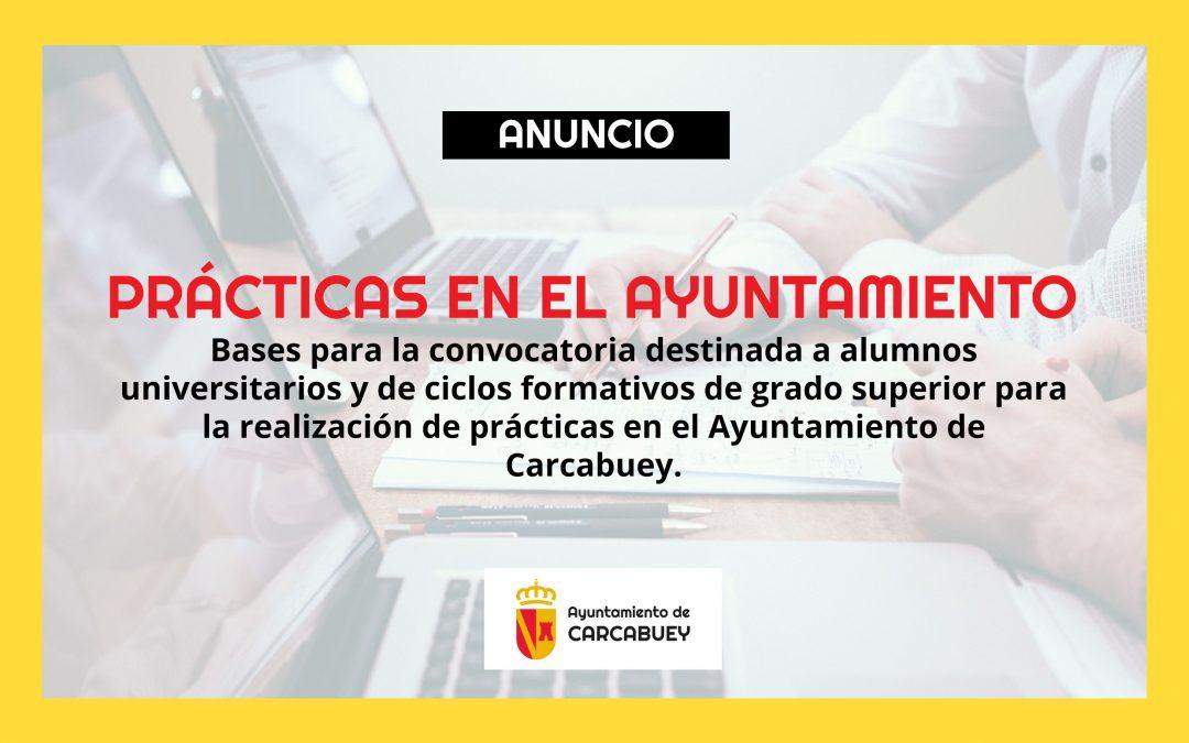 BASES PARA LA CONVOCATORIA DE REALIZACIÓN DE PRÁCTICAS EN EL AYUNTAMIENTO DE CARCABUEY
