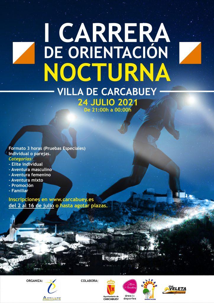 Cartel I carrera de orientación nocturna Villa de Carcabuey